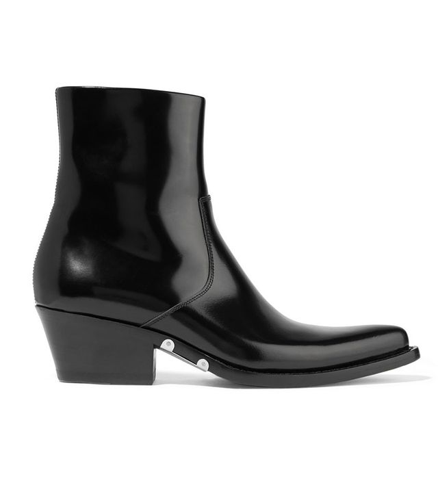 Calvin Klein 205W39NYC Tiesa Glossed-Leather Ankle Boots