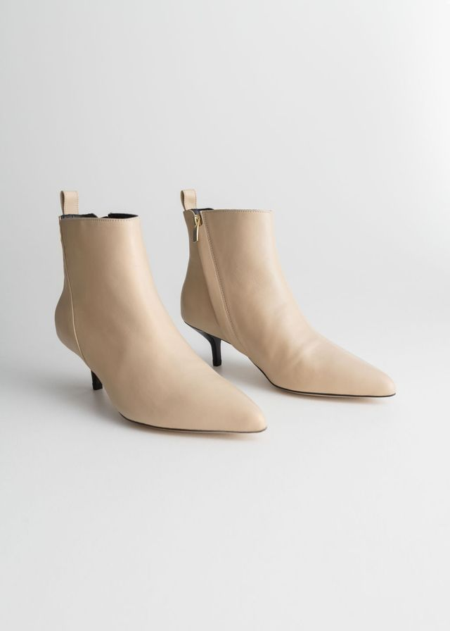 & Other Stories Leather Kitten Heel Boots