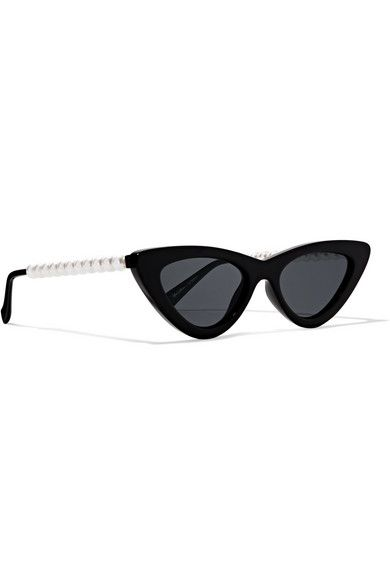 Le Specs The Last Lolita Faux Pearl-Embellished Cat-Eye Sunglasses