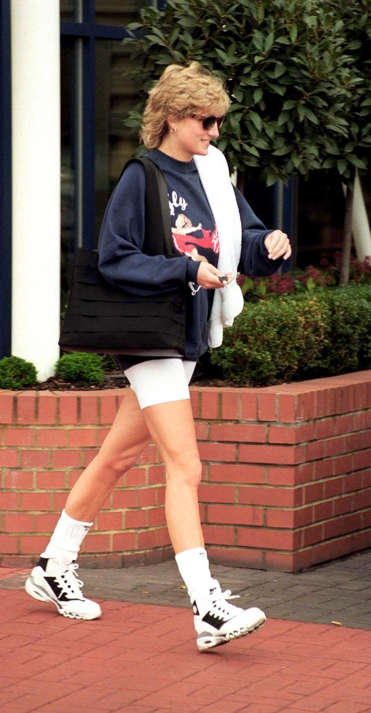 Princess Diana 80s bike shorts trend