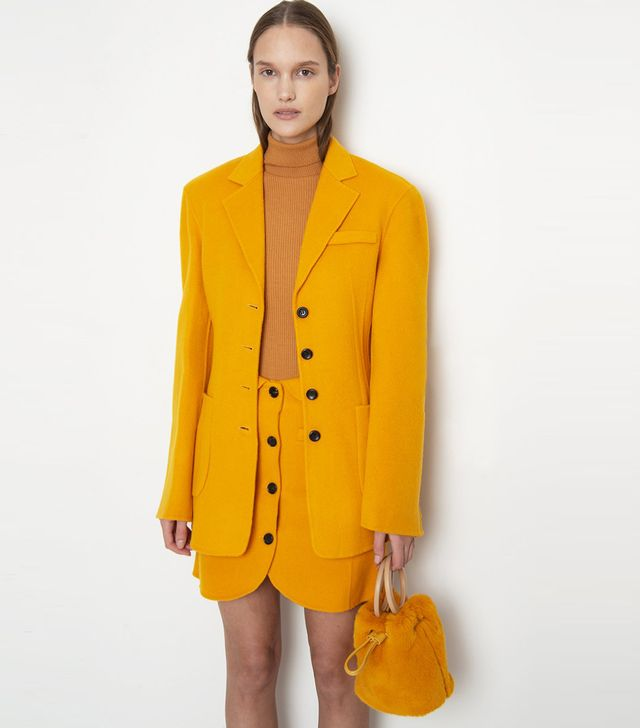 Frankie Shop Mustard Contrast Button Wool Blazer
