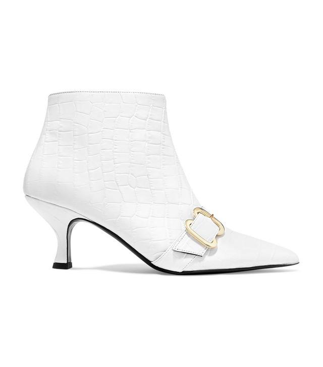 Erdem Sienna Croc-Effect Ankle Boots