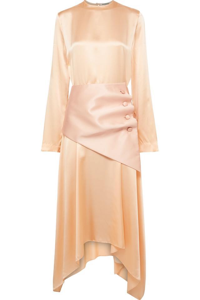 Matériel Belted Asymmetric Silk-Satin Midi Dress