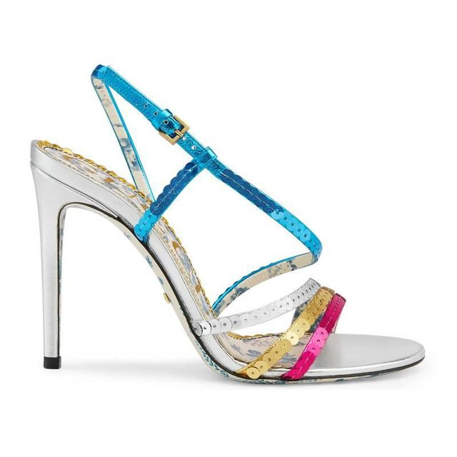 Gucci Metallic Leather Sandal With Sequins