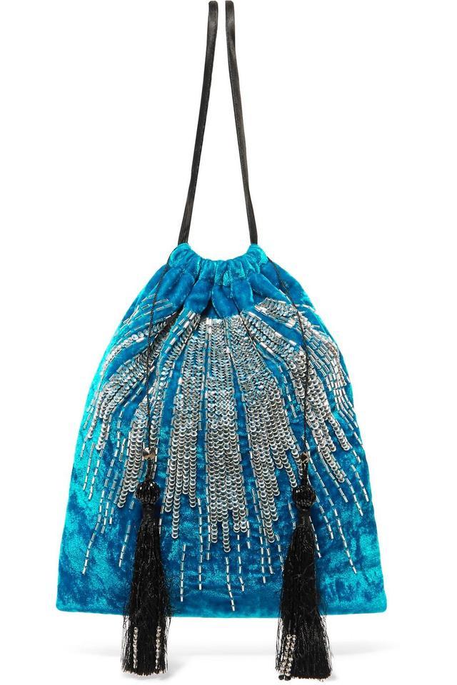 Attico Tasseled Embellished Velvet Pouch