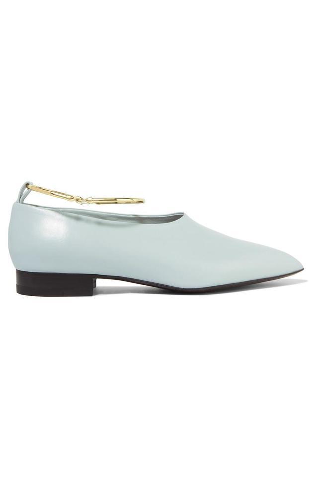 Jil Sander Embellished Glossed-Leather Point-Toe Flats