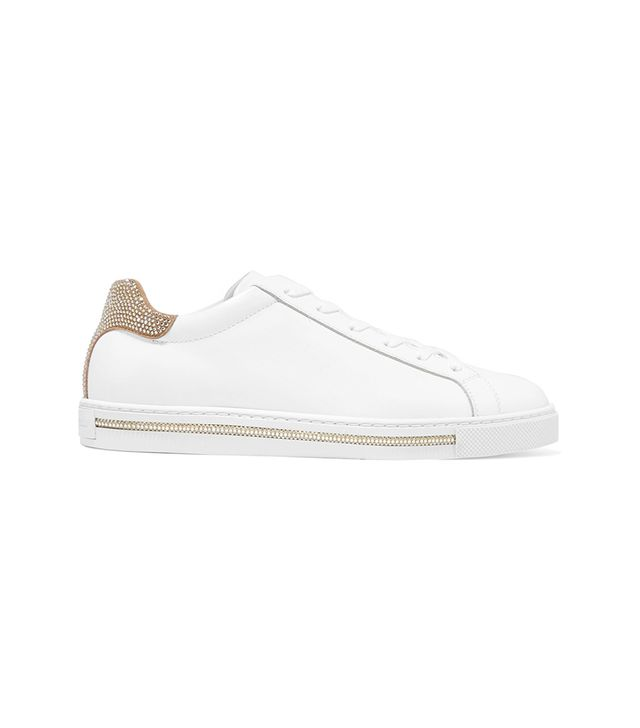 René Caovilla Crystal-Embellished Suede and Leather Sneakers