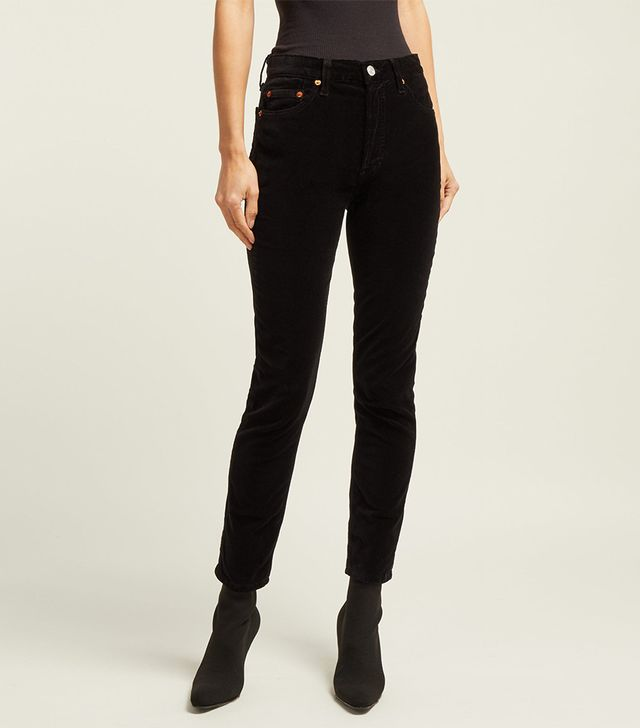 Re/Done Originals High Rise Cropped Velvet Jeans