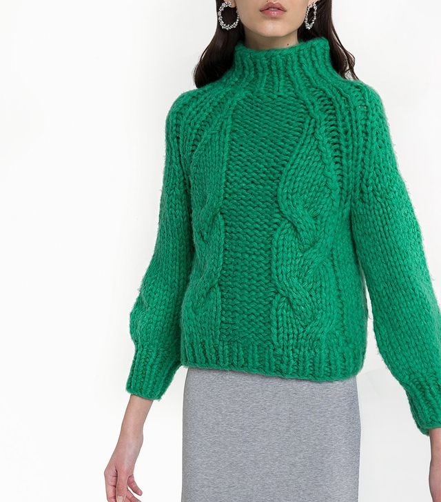 Pixie Market Green Cable Knit Sweater