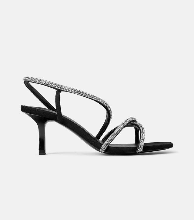 Zara Bejeweled Mid-Height Heeled Sandals