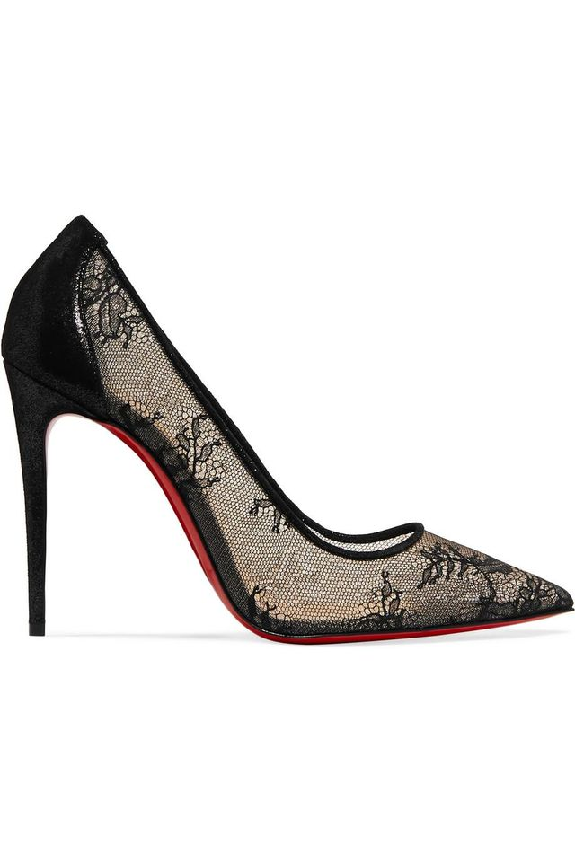 Christian Louboutin 554 100 Lace and Lamé Pumps