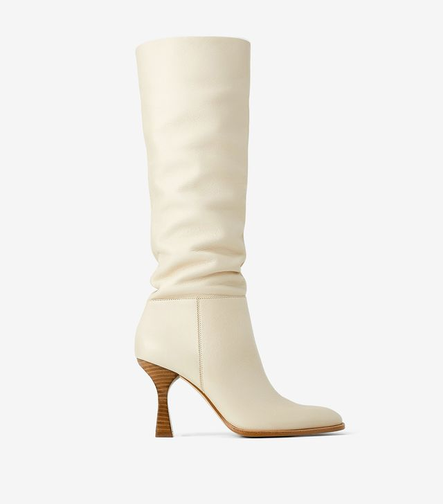 Zara Leather Boots With Wood-Look Heels