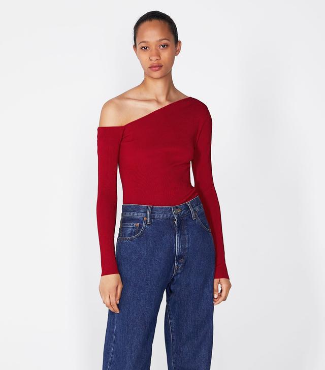 Zara Knit Top With Asymmetric Neckline