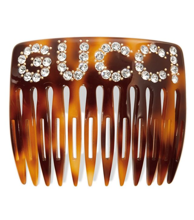 Gucci Crystal-Embellished Tortoiseshell Resin Hair Slide