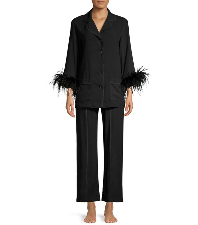 Sleeper Feather-Trim Pajama Top