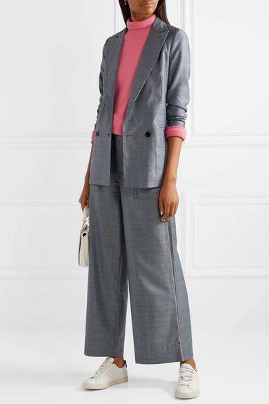 Ganni Merkel Oversized Checked Silk and Wool-Blend Blazer