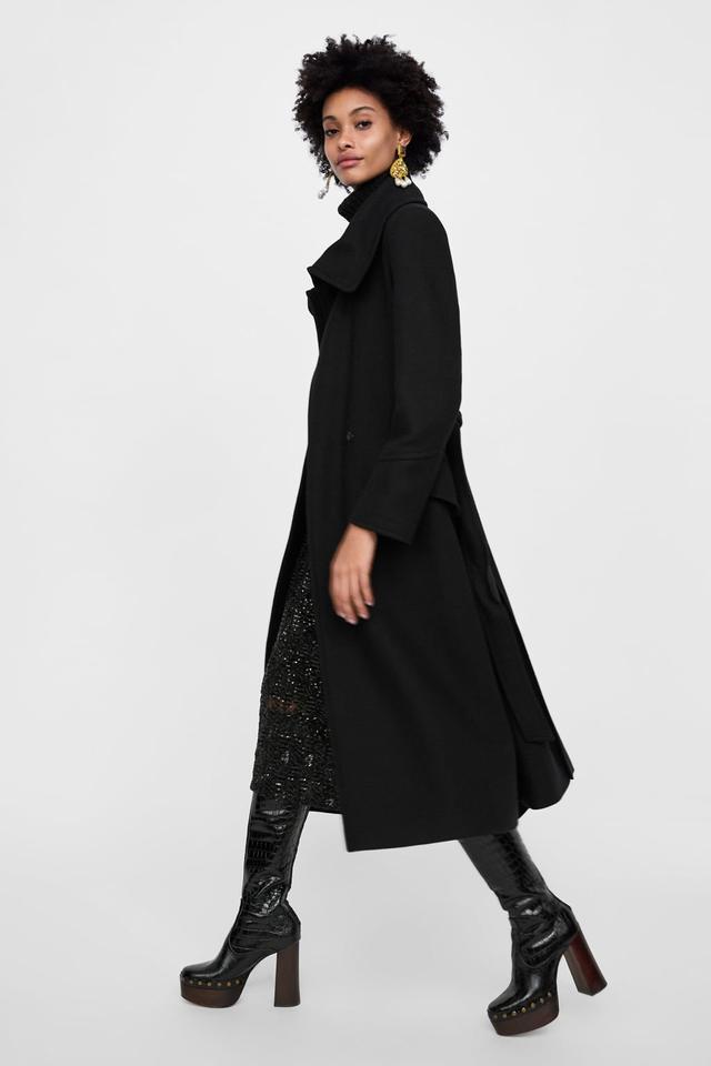 Zara Coat With Wrap Collar