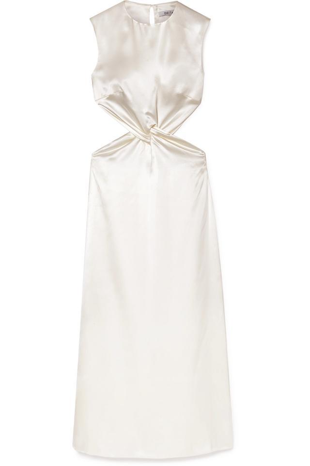 Deitas Olympia Knotted Cutout Silk-Satin Maxi Dress
