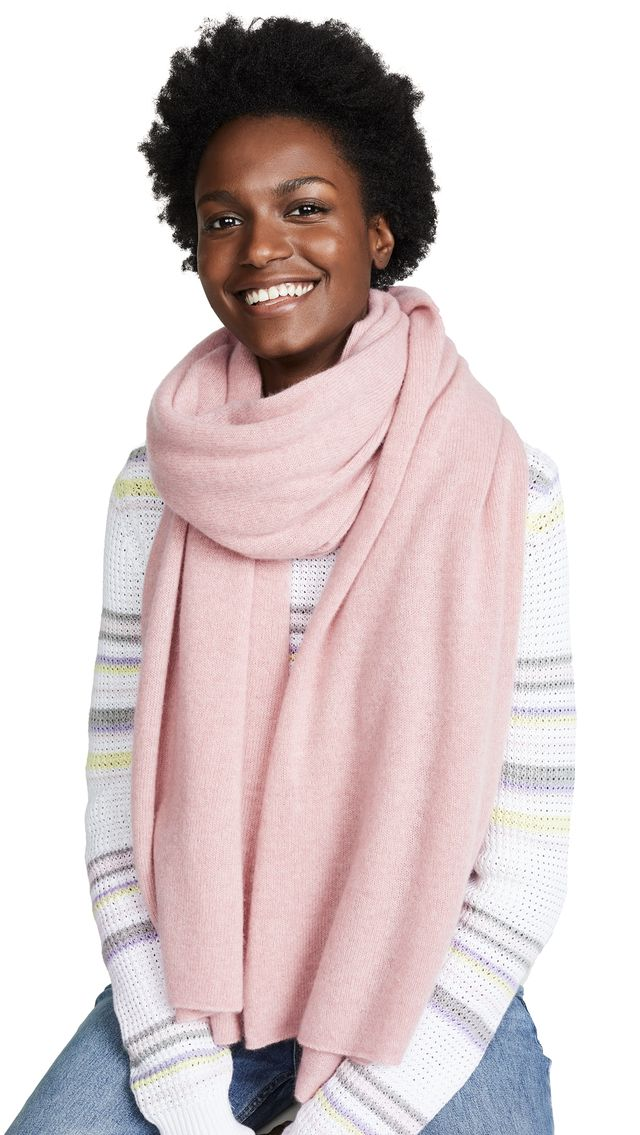 White + Warren Travel Wrap Cashmere Scarf in Soft Rouge