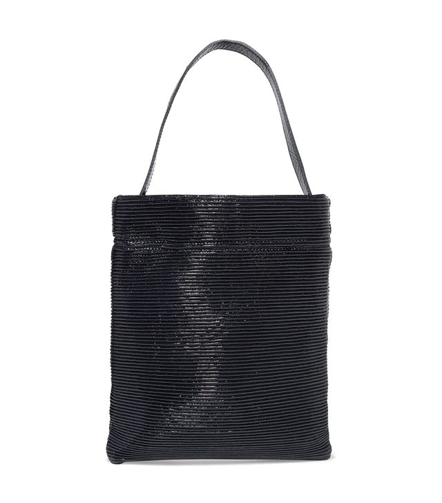 TL-180 Fazzoletto Ribbed Patent-Leather Shoulder Bag