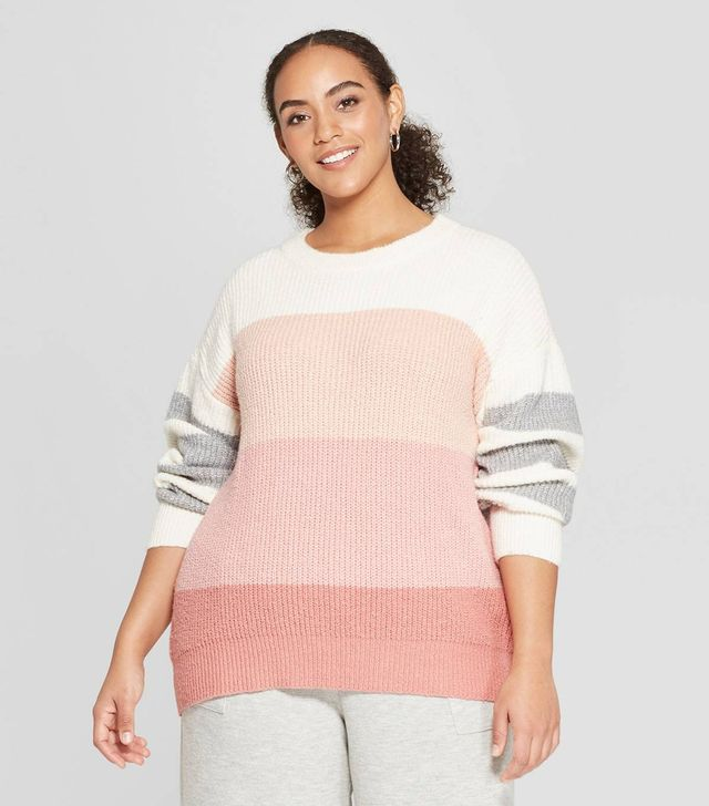 Who What Wear Striped Long-Sleeve Crew-Neck Tie-Back Sweater