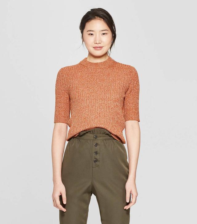 Who What Wear Short-Sleeve Shrunken Elbow Crew Sweater