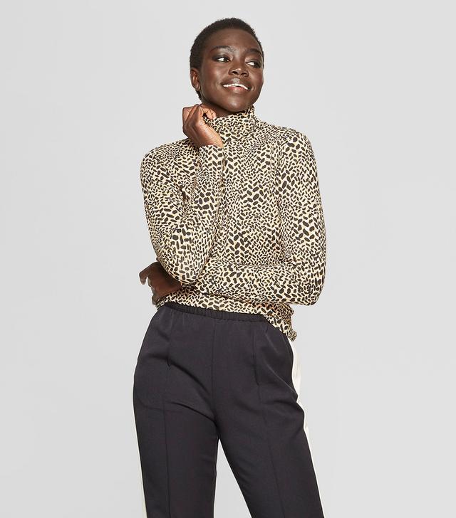 Who What Wear Leopard-Print Long-Sleeve Turtle Neck