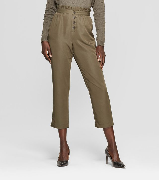 Who What Wear Relaxed Button-Front Ankle Trouser