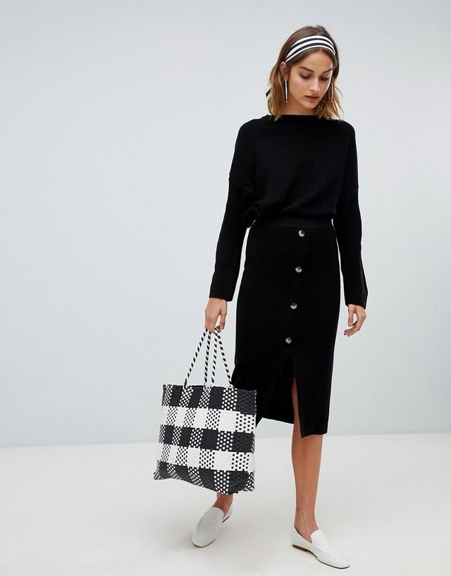 Stradivarius Ribbed and Button Detail Skirt Two-Piece