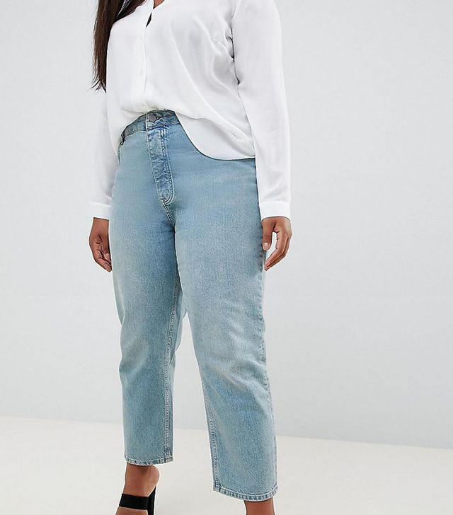 ASOS Curve Florence Authentic Straight Leg Jeans in Light Green Cast