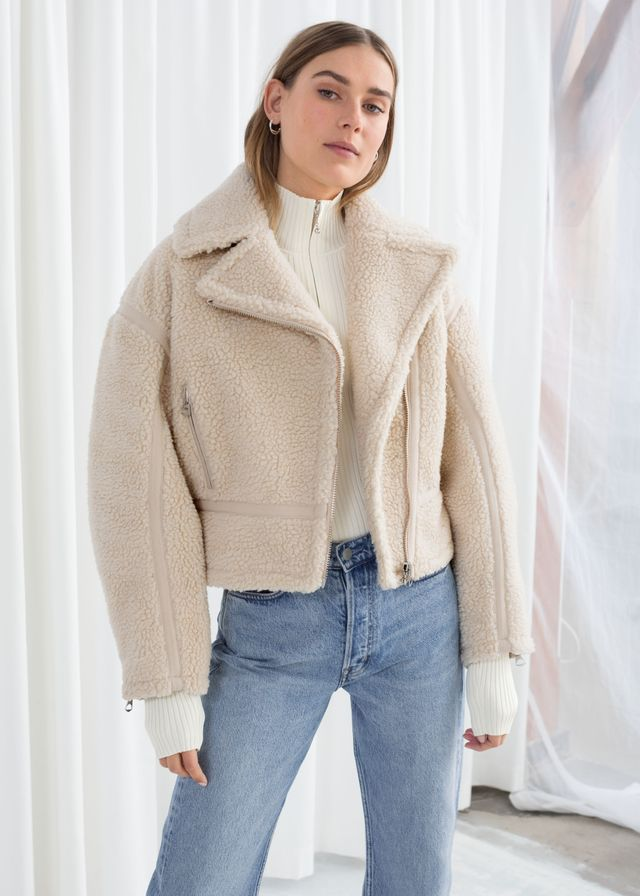 & Other Stories Cropped Faux Shearling Jacket