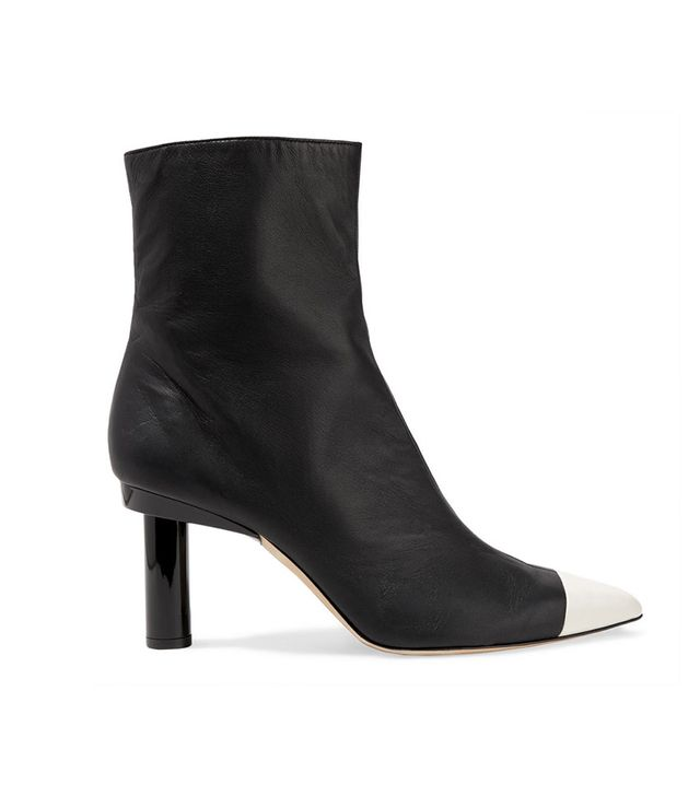 Tibi Grant Two-Tone Leather Ankle Boots