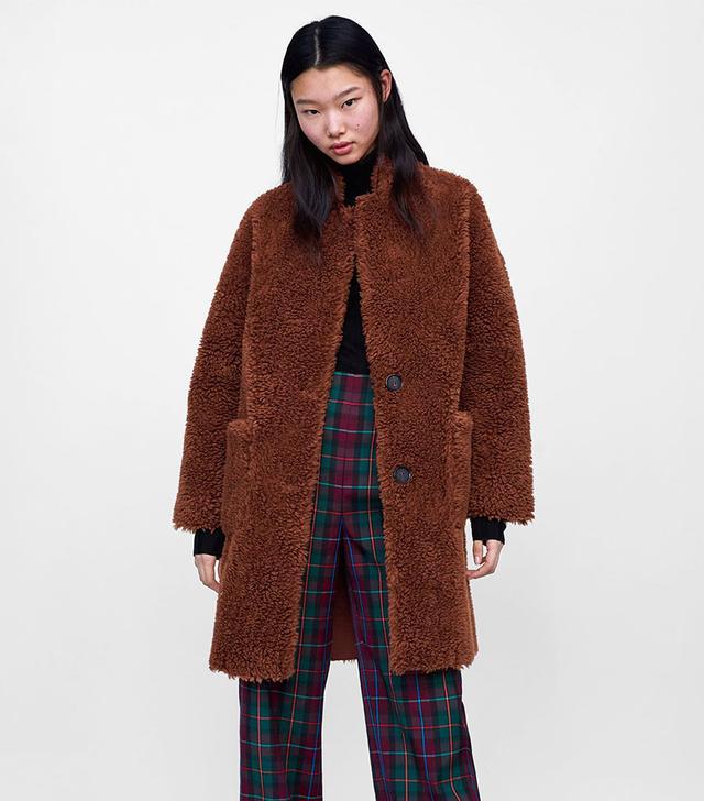 Zara Double Faced Faux Fur Coat