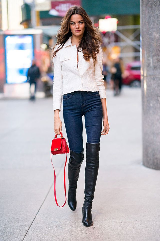 Celebrity Trends to Wear With Skinny Jeans: Knee-High Boots