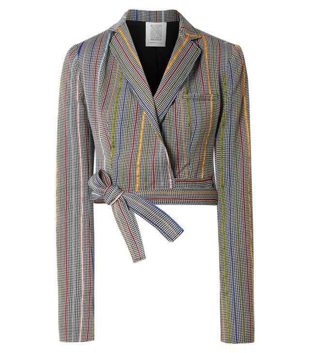 Rosie Assoulin Cropped Wool and Silk-Blend Jacquard Wrap Blazer