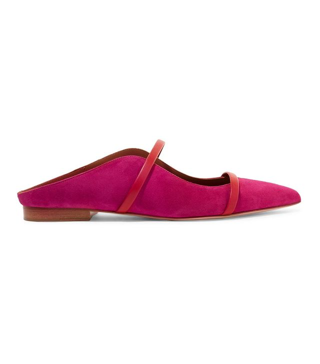 Malone Souliers by Roy Luwolt Maureen Leather-Trimmed Suede Point-Toe Flats