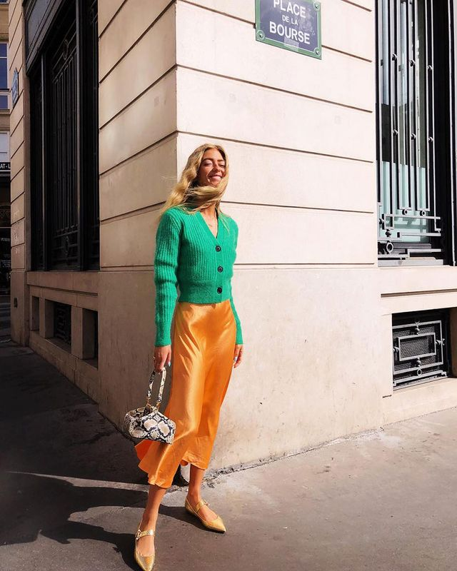 Easy Outfit to Make Mornings Easier: Colorful Cardigan and Silk Skirt