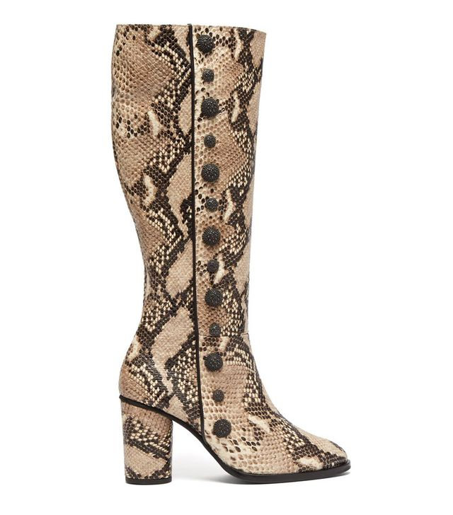 Rue St Lana Snake Effect Leather Knee High Boots