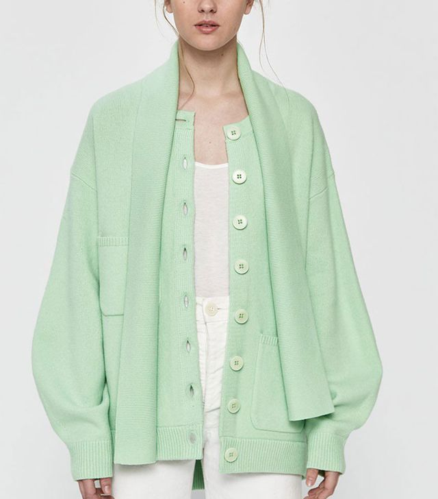 Tibi Airy Tie-Collar Cardigan