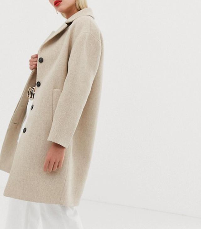 Mango Button Front Mid Length Coat