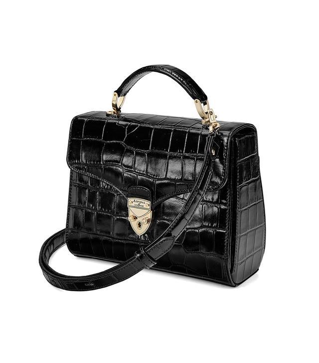 Aspinal of London Midi Mayfair Bag in Deep Shine Black Croc