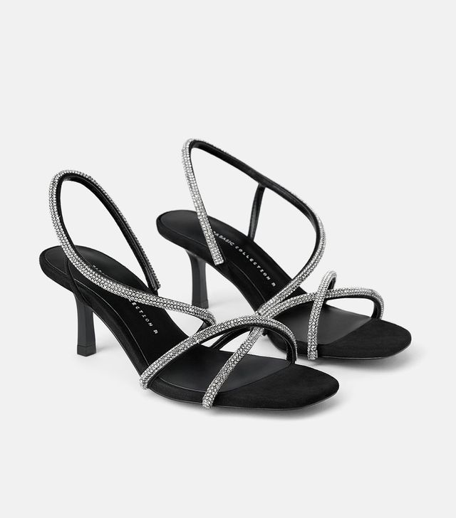 Zara Bejeweled Mid-Height Heeled Sandals