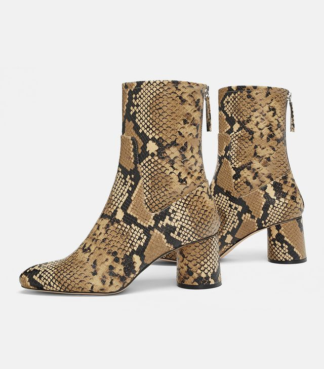 Zara Heeled Animal Print Ankle Boots