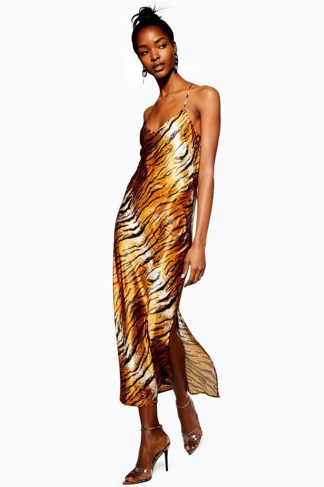 Topshop Tiger Satin Slip Dress