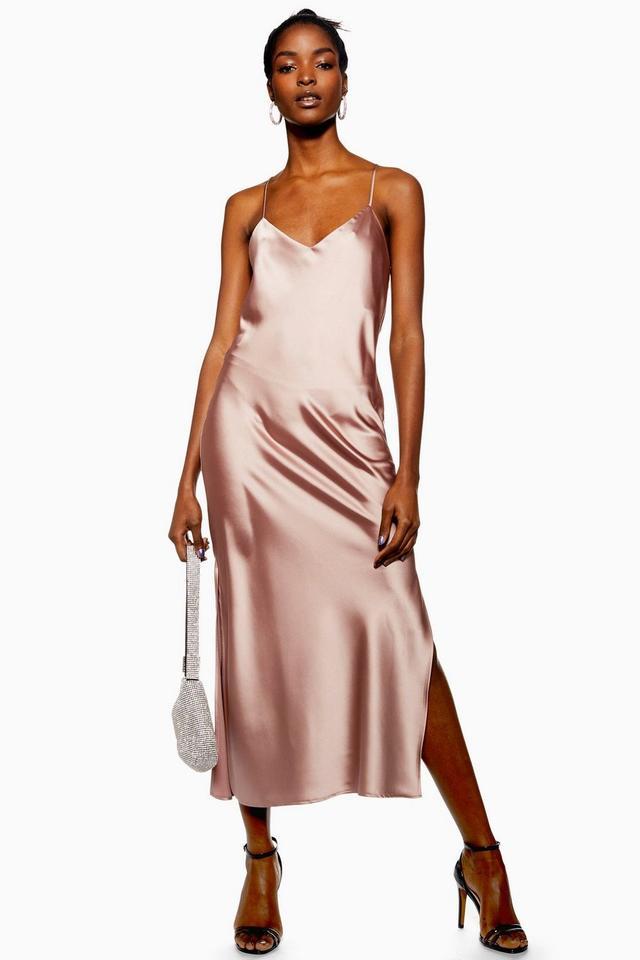 Topshop Plain Satin Slip Dress