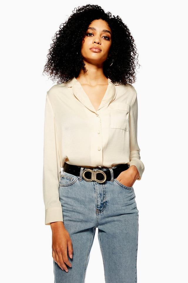 Topshop Satin PJ Style Shirt