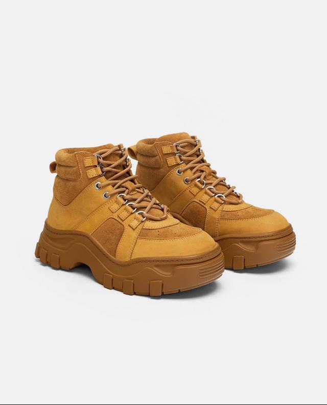 Zara Low-Heeled Leather Hiking Boots