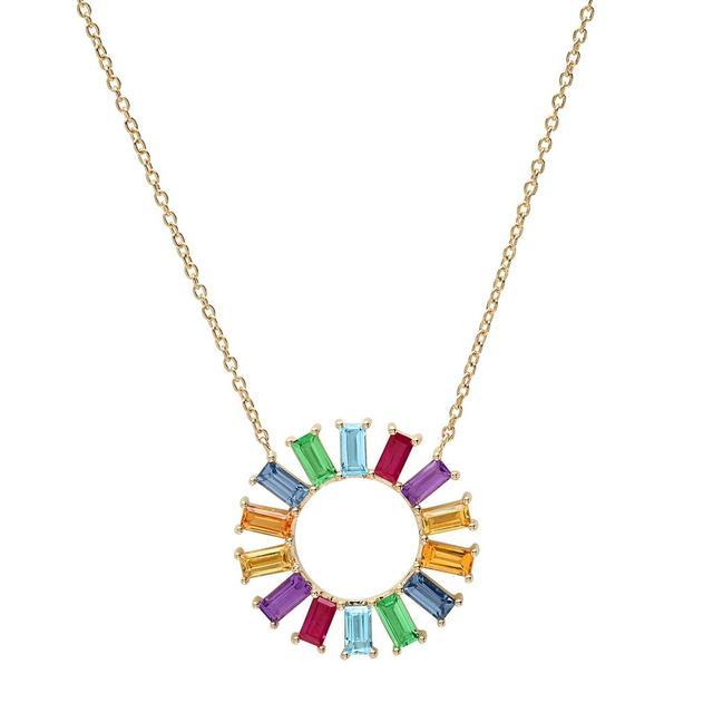 Eriness Rainbow Baguette Flower Necklace