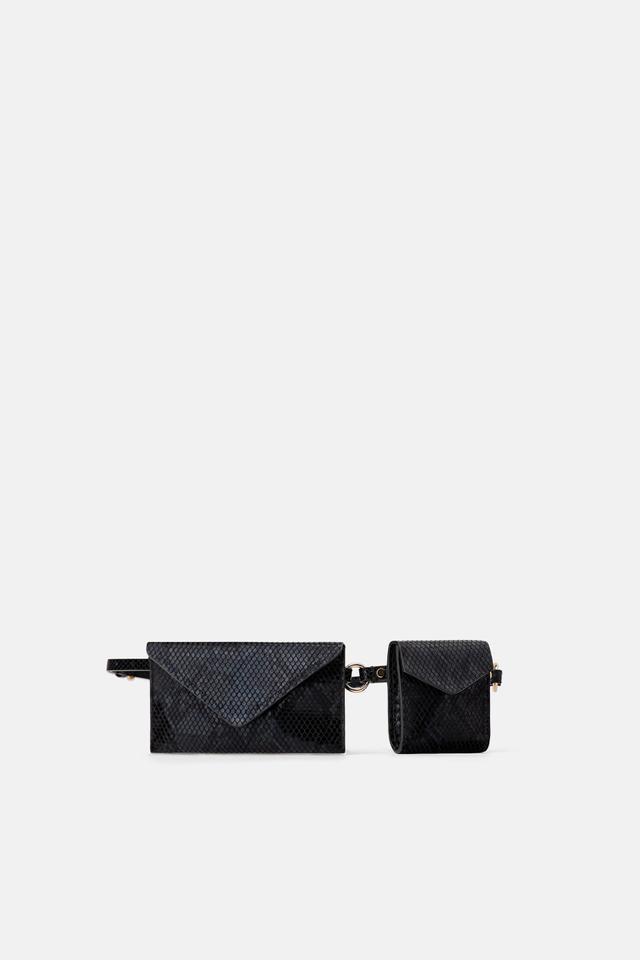 Zara Animal Print Double Pocket Belt Bag