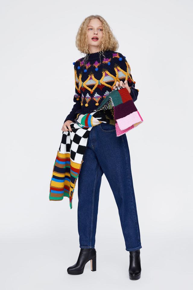 Zara Multicolored Embroidered Knit Sweater